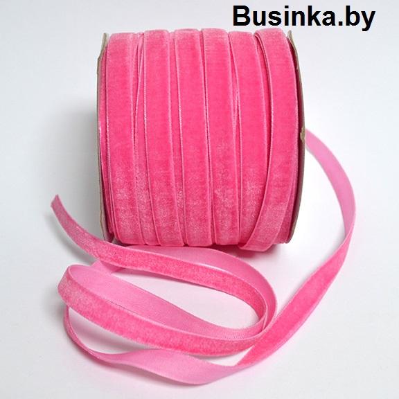 Бархатная лента 1 см, розовый №1 (1 метр)