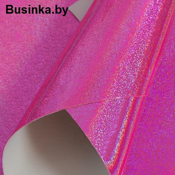 Кожзам голографик ярко-розовый (1 шт), 20*30 см