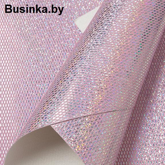 Кожзам голографик «Ромбики» 20*30 см, светло-розовый (1 шт)