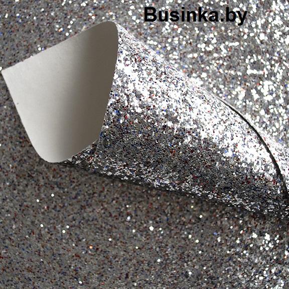Кожзам с крупными блёстками 20*30 см, серебро/мультиколор (1 шт)