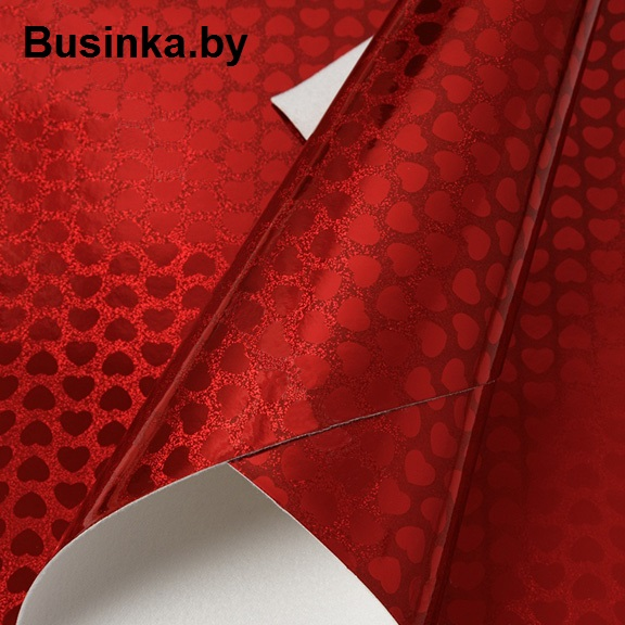 Кожзам голографик «Сердечко» 20*30 см, красный (1 шт)
