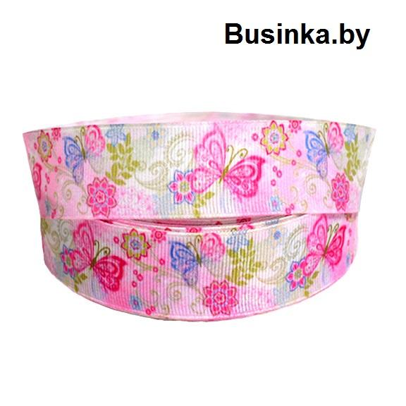 Репсовая лента «Цветы с бабочками» 2,5 см (1м)
