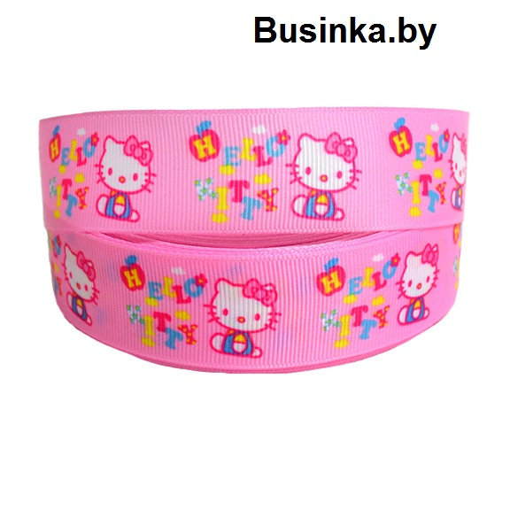 Репсовая лента «Hello Kitty» 2,5 см (1м)