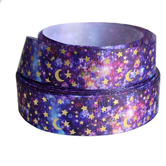 Репсовая лента «Звёзды с луной» 2,5 см (1м), фиолетовый/золото