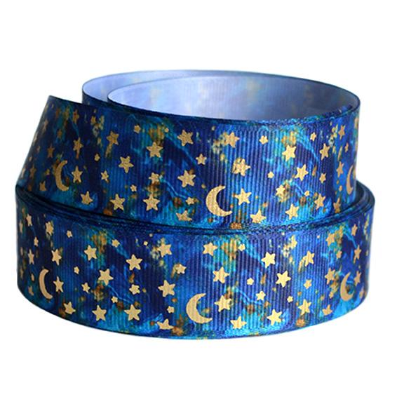 Репсовая лента «Звёзды с луной» 2,5 см (1м), синий/золото