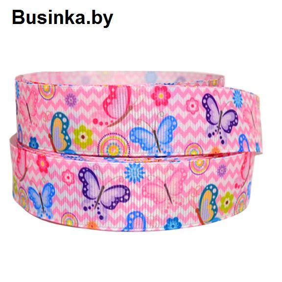 Репсовая лента «Бабочки» 2,5 см (1м)