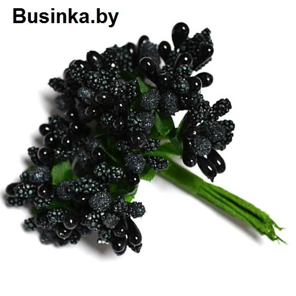 Тычинки с сахарной вставкой, чёрный 1 шт (12 минибукетов)