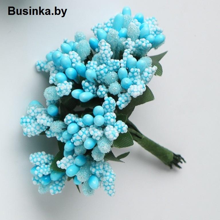 Тычинки с сахарной вставкой, голубой 1 шт (12 минибукетов)