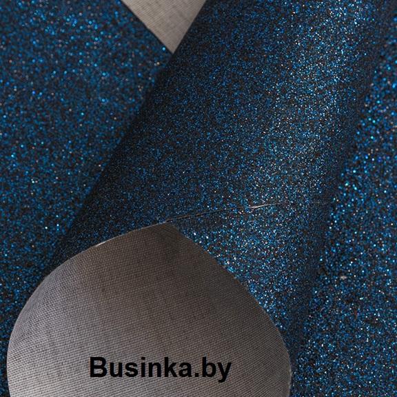Кожзам с мелкими блёстками 20*30 см, тёмно-синий (1 шт)