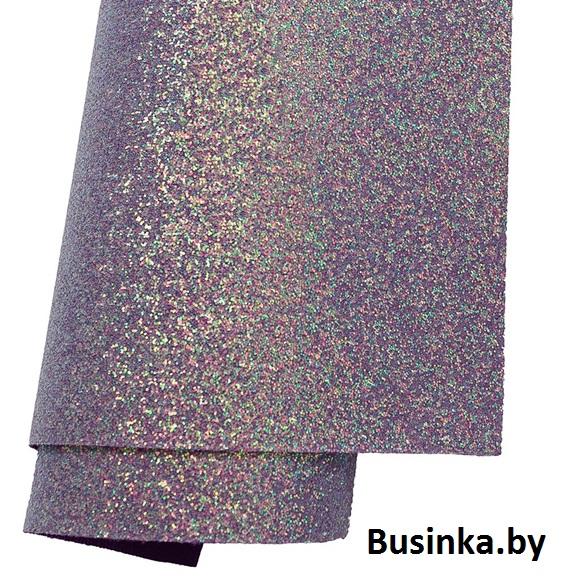 Кожзам с перламутровыми блёстками 21*30 см, фиолетовый (1 шт)
