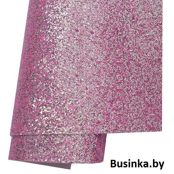 Кожзам с перламутровыми блёстками 21*30 см, светло-розовый (1 шт)
