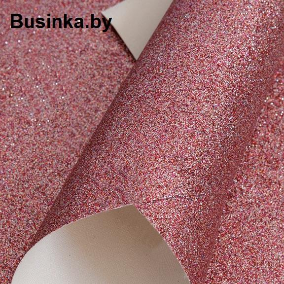 Кожзам с мелкими блёстками 20*30 см, розовый (1 шт)