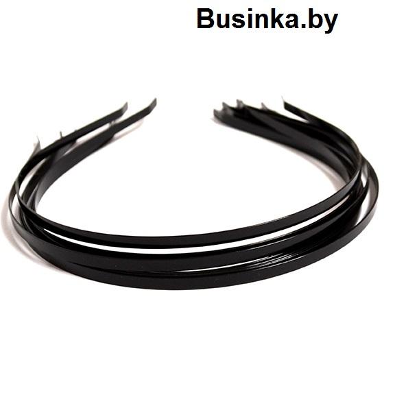 Ободок (обруч) для волос металл 7 мм, чёрный