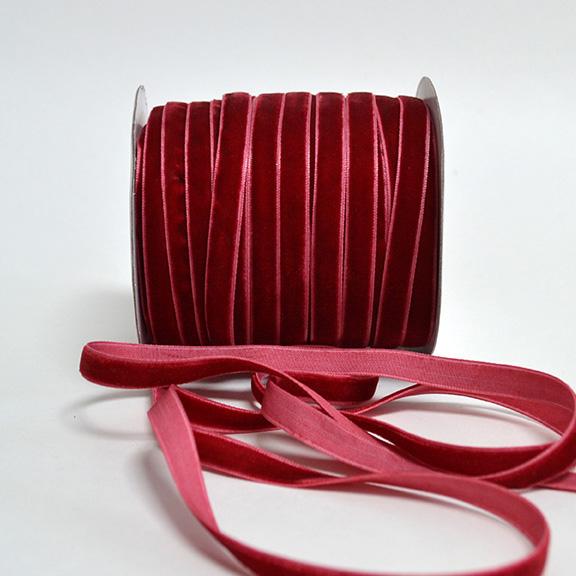 Бархатная лента 1 см, тёмно-красный (1 метр)