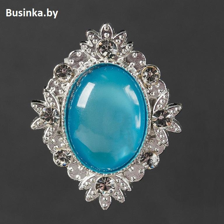 Серединки ювелирные 26*34 мм, серебро/голубой (1 шт)