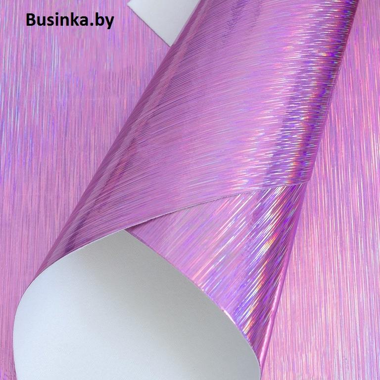 Кожзам гладкий «Полоски» 20*30 см, розовый (1 шт)