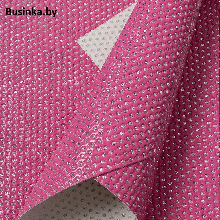 Кожзам «Горошек из блёсток» 22*30 см, розовый (1 шт)