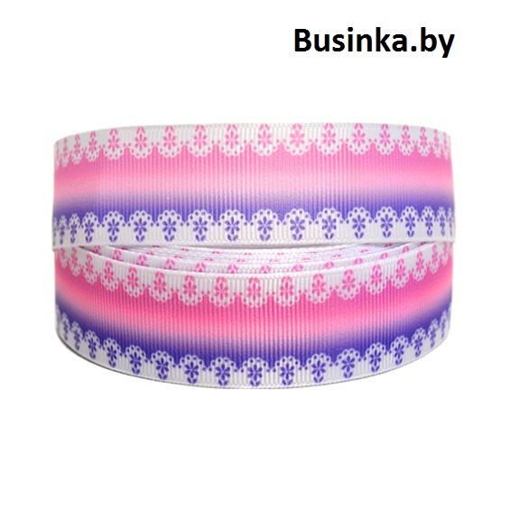 Репсовая лента с рисунком 2,5 см (1м) фиолетовый/розовый