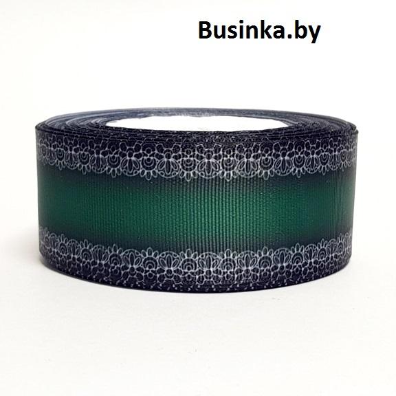Репсовая лента «Кружево» 4 см (1 м), тёмно-зелёный