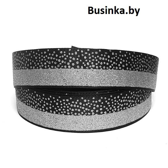 Репсовая лента 2,5 см (1м), чёрный/серебро