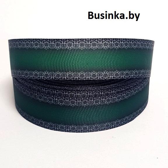 Репсовая лента «Кружево» 2,5 см (1м), тёмно-зелёный