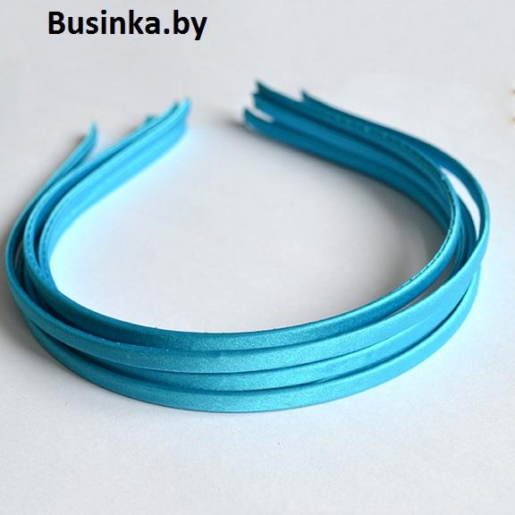 Ободок (обруч) для волос с атласной лентой 0.5 см, бирюзовый