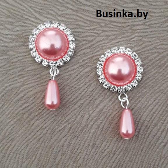 Серединки ювелирные с подвеской 20*42 мм, серебро/розовый (1 шт)