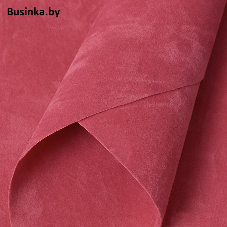 Замша искусственная двусторонняя, А4 (21*29 см) 1 шт,розовая пенка