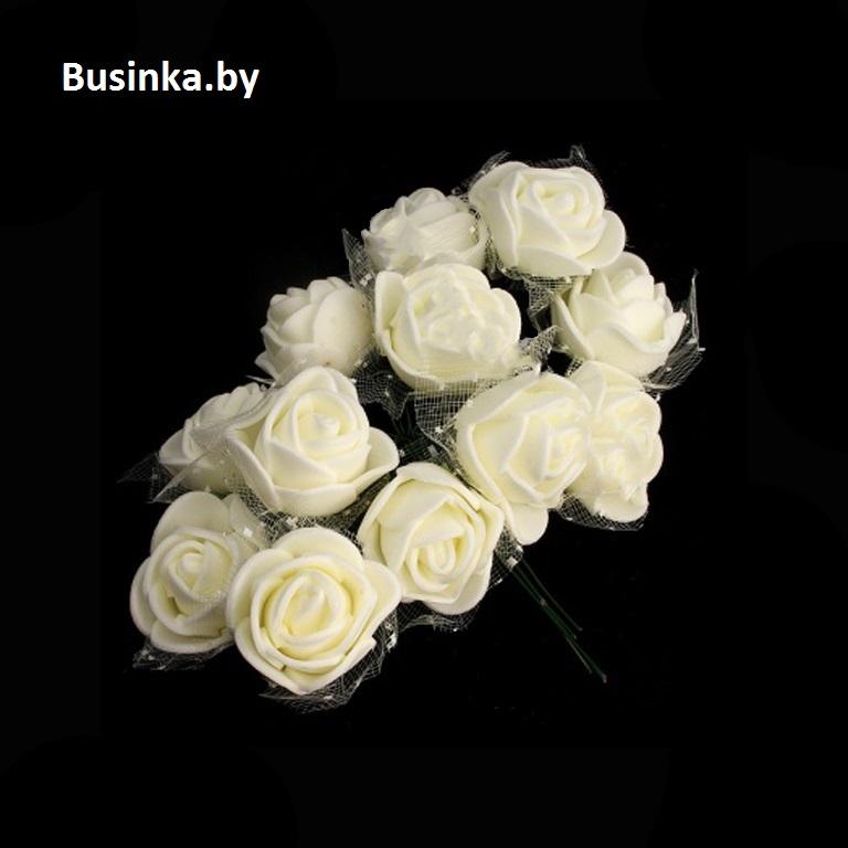 Головки цветов «Розочка» на веточке с сеточкой, айвори 20 мм (12 шт)