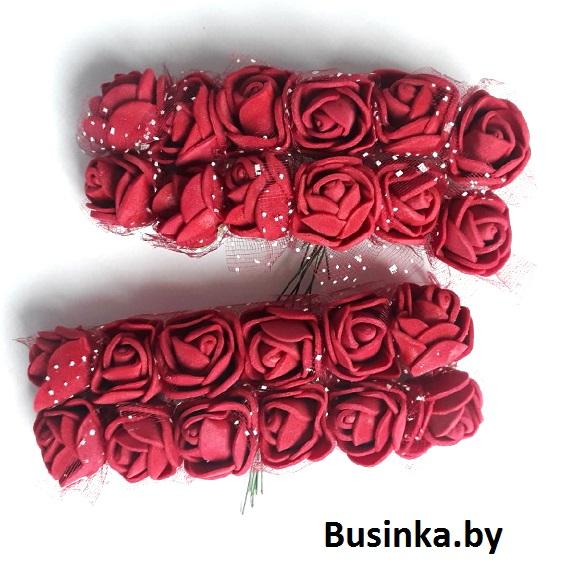 Головки цветов «Розочка» на веточке с сеточкой, бордовый 20 мм (12 шт)