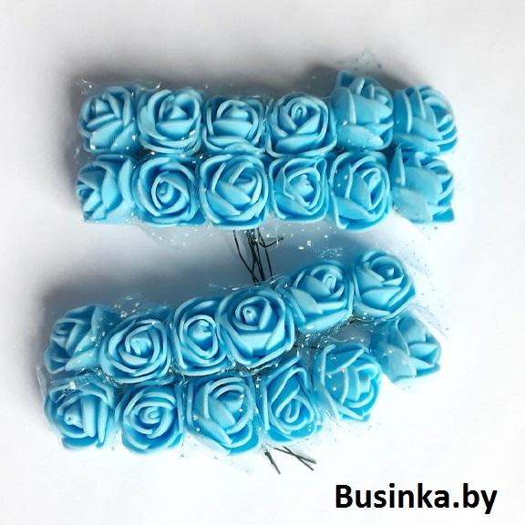 Головки цветов «Розочка» на веточке с сеточкой, голубой 20 мм (12 шт)