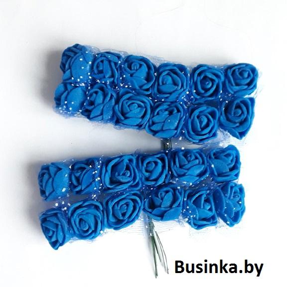 Головки цветов «Розочка» на веточке с сеточкой, синий 20 мм (12 шт)