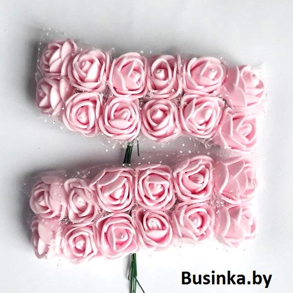Головки цветов «Розочка» на веточке с сеточкой, светло-розовый 20 мм (12 шт)