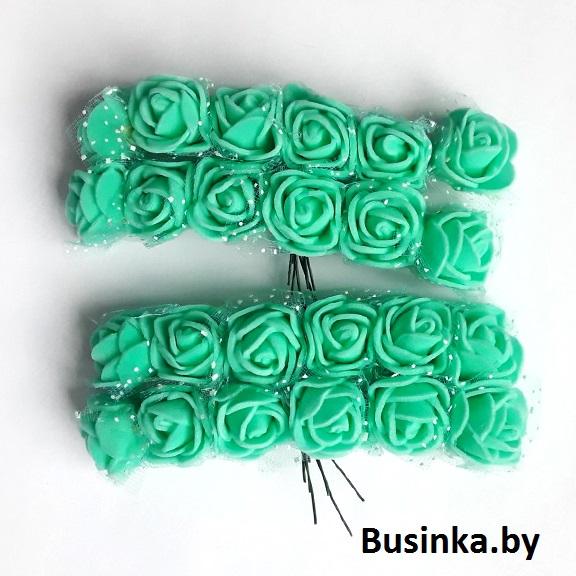 Головки цветов «Розочка» на веточке с сеточкой, тифани 20 мм (12 шт)