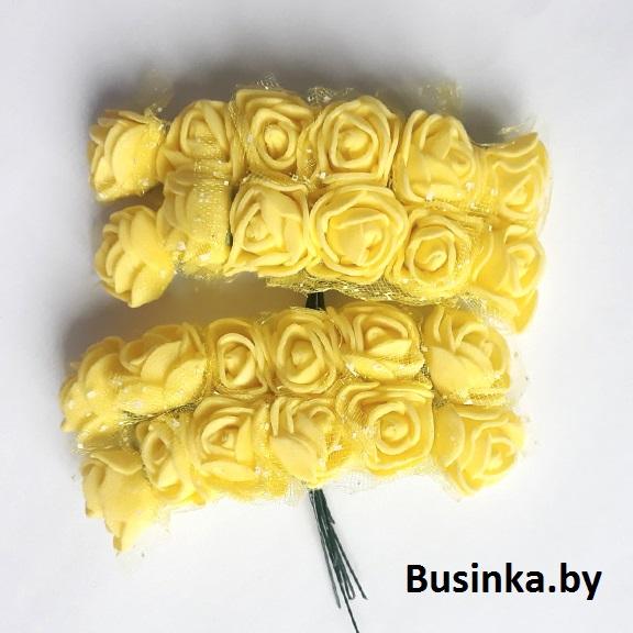 Головки цветов «Розочка» на веточке с сеточкой, жёлтый 20 мм (12 шт)