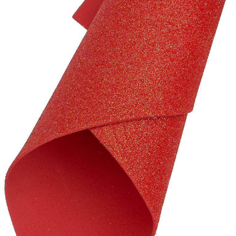 Фоамиран глиттерный 2 мм Premium 20*29.5 см, красный перламутр (1 шт)