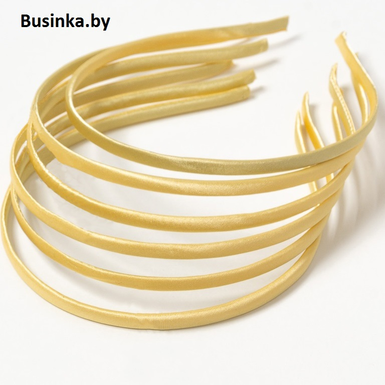 Ободок (обруч) для волос с атласной лентой 0.5 см, бежевый (золото)