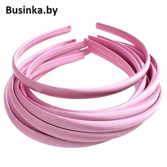 Ободок (обруч) для волос с атласной тканью 1 см, розовый