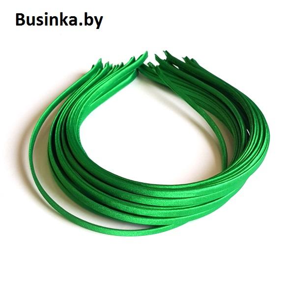 Ободок (обруч) для волос с атласной лентой 0.5 см, зелёный