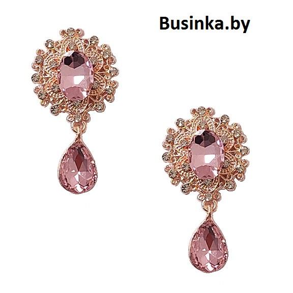 Серединки ювелирные с подвеской 25*45 мм, золото/розовый (1 шт)