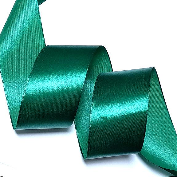 Атласная лента 5 см (1 метр), тёмно-зелёная №2
