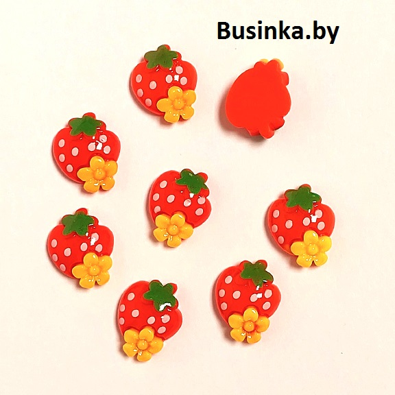 Кабошон «Клубничка с цветочком», 20*16 мм (1 шт)
