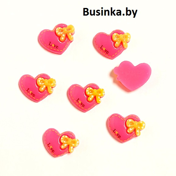Кабошон «Сердце с бантиком», 20*16 мм (1 шт), фукси