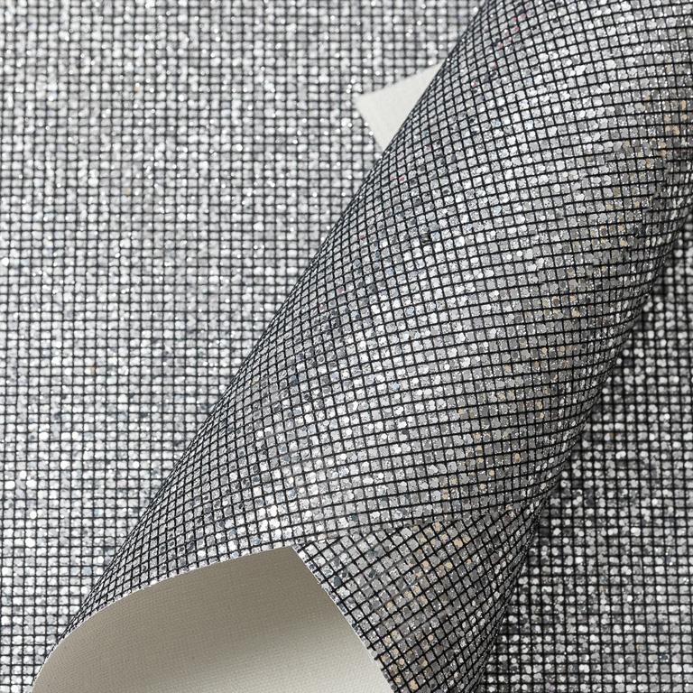 Кожзам «Квадратики» 21*29 см, чёрное серебро (1 шт)