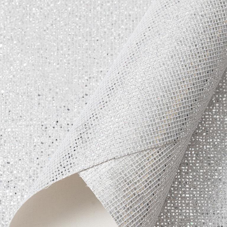 Кожзам «Квадратики» 21*29 см, серебро (1 шт)
