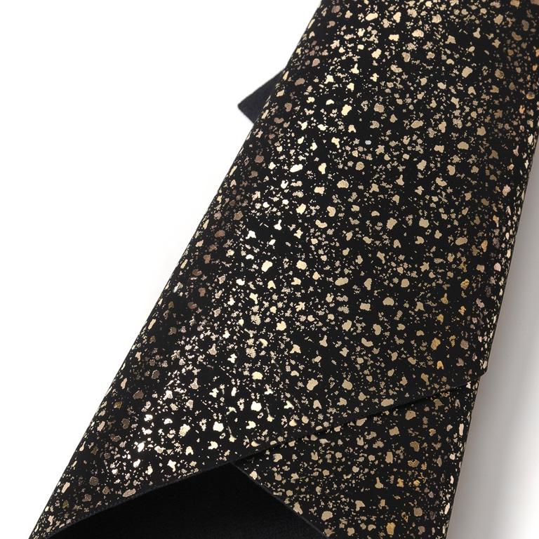Кожзам «Осколки» 21*29 см, черный/золото, мягкая ткань