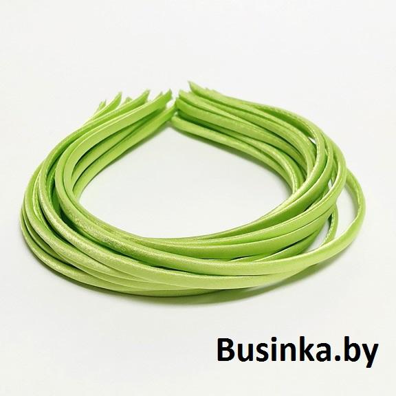Ободок (обруч) для волос с атласной лентой 0.5 см, салатовый