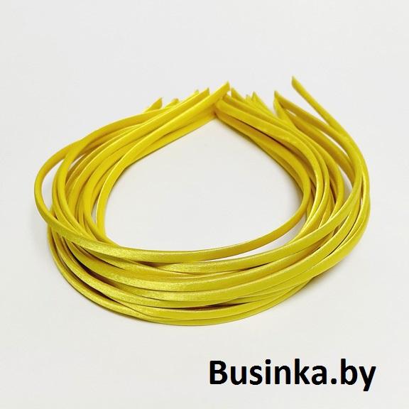 Ободок (обруч) для волос с атласной лентой 0.5 см, жёлтый