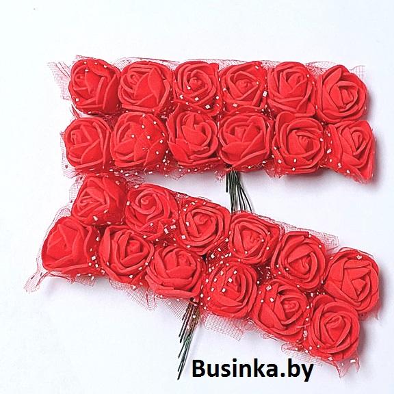 Головки цветов «Розочка» на веточке с сеточкой, красный №2, 20 мм (12 шт)