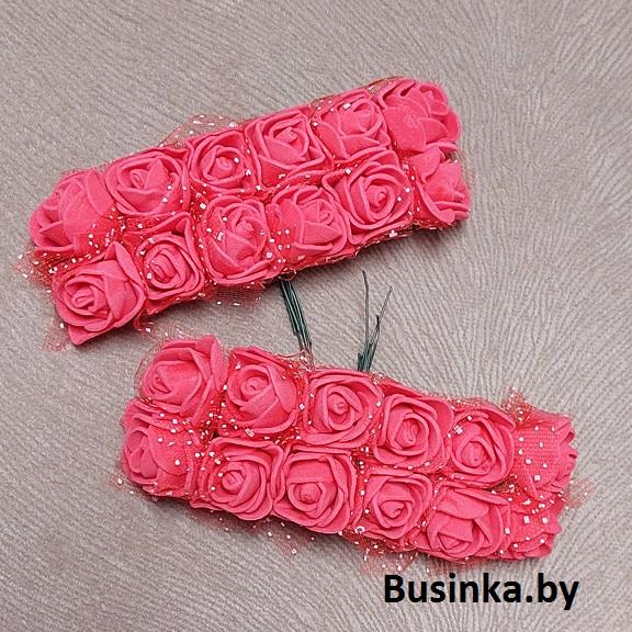 Головки цветов «Розочка» на веточке с сеточкой, красный №3, 20 мм (12 шт)